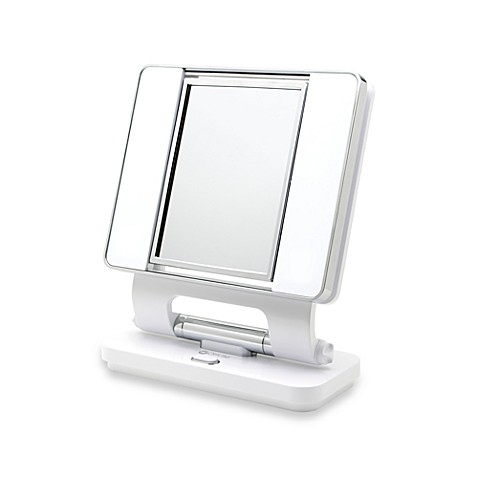 OttLite® Natural Daylight 5X/1X Makeup Mirror in White