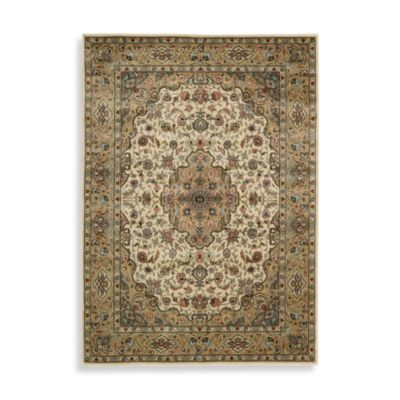 Nourison Persian Arts Kirman 2-Foot 3-Inch x 12-Foot Runner in Ivory/Gold