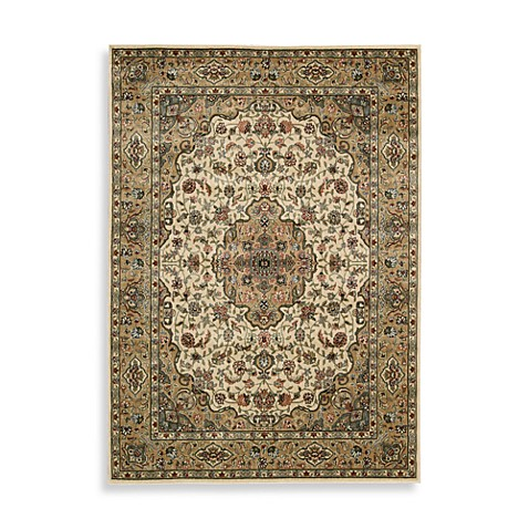 Nourison Persian Arts Kirman 5-Foot 3-Inch x 7-Foot 5-Inch Rug in Ivory/Gold