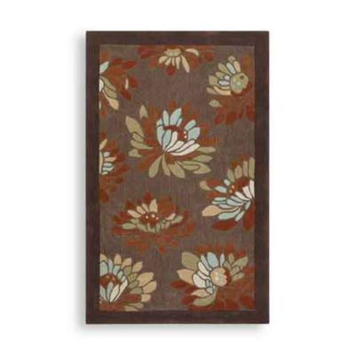 Clifton Blossoms Rectangle Rugs in Chocolate