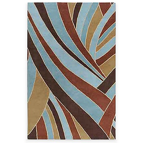 Passaic Expressions Sky Wool Rectangle Rugs in Sky Blue