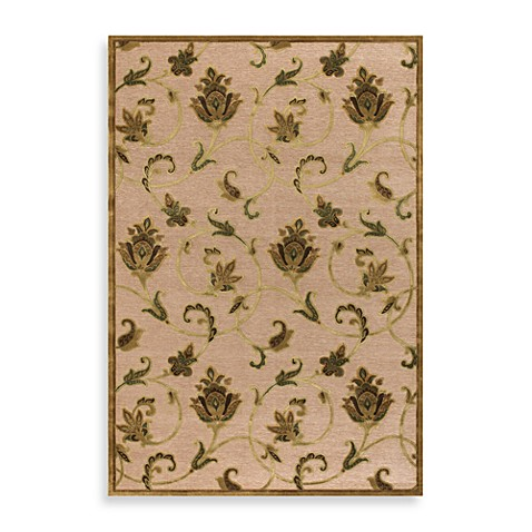 Couristan® Pave Collection Petal Vine Rectangle Rugs in Antique Gold/Ivory