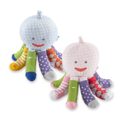 "Baby Aspen ""Mr. Sock T. Pus"" Plush Octopus Sock Set (4-Pack) in Pink"