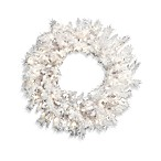 30-Inch White Fir Pre-lit Wreath with Clear Lights