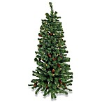 48-Inch Pre-lit Wall Christmas Tree w/ Pinecones