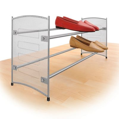 Expandable Mesh Shoe Rack in Platinum