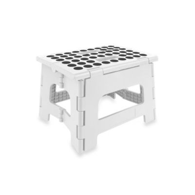 Kikkerland® Folding Plastic Step Stool in White