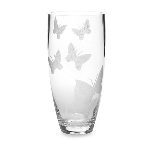 Mikasa modern butterfly glass 11 inch vase bed bath for Jardin glass vases 7 in
