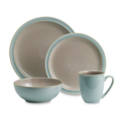 Denby Duets 4-Piece Place Setting in Taupe/Blue