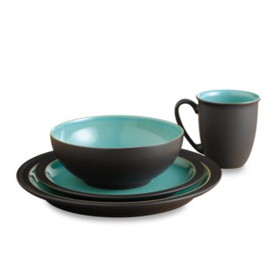 Denby Duets 4-Piece Dinnerware Place Setting in Brown/Turquoise