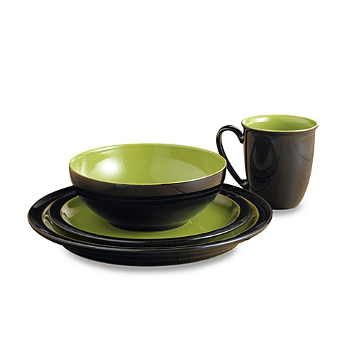 Denby Duets Black & Green 4-Piece Place Setting