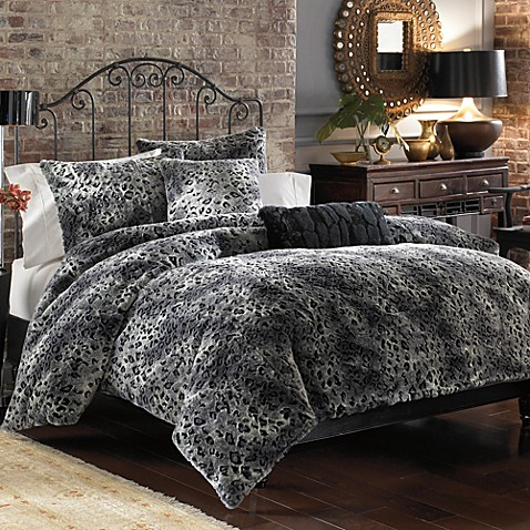 Lynx Faux Fur Duvet Cover Set Grey Bed Bath Amp Beyond