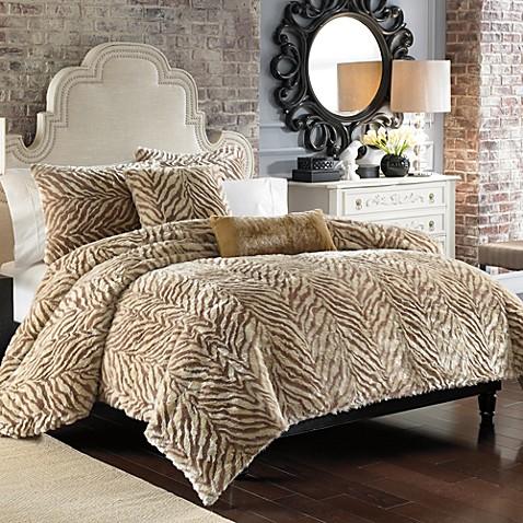 Zebra Faux Fur Duvet Cover Set Golden Bed Bath & Beyond