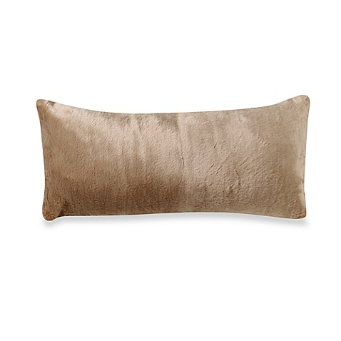 Panther Faux Fur Oblong Throw Pillow in Golden