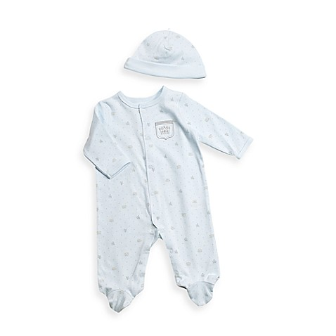 Layette (Preemie - 24M) > Little Me Blue Prince Footie with Cap