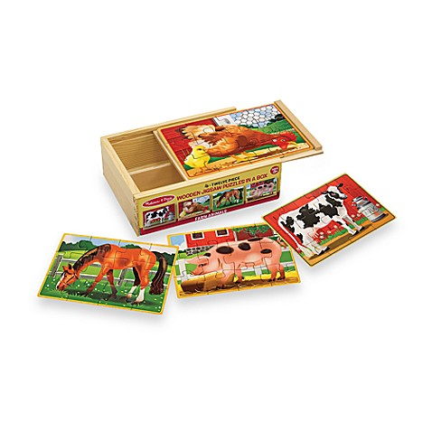 Melissa & Doug® Farm Animals Jigsaw Puzzles in A Box (Set of 4 Puzzles)