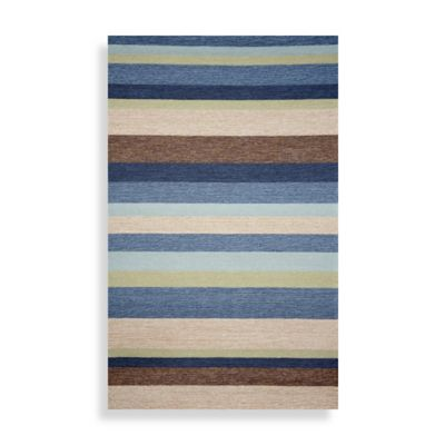 Ravella Stripe 8-Foot Square Area Rug in Denim