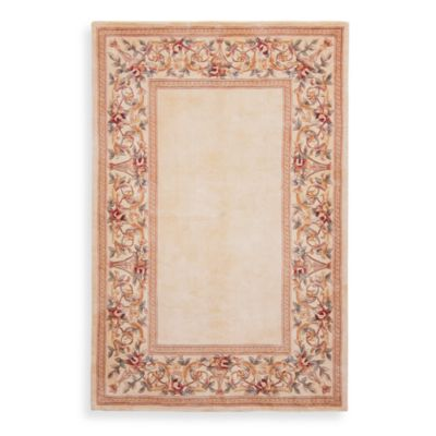 KAS Ruby Floral Border 5-Foot x 8-Foot Area Rug in Ivory