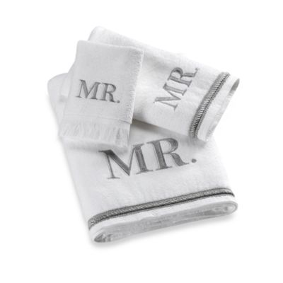 "Avanti Silver Block Monogram ""Mr."" Bath Towel"