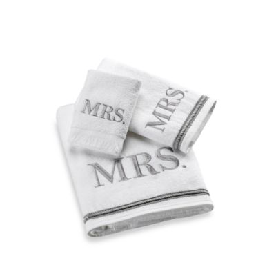 "Avanti Silver Block Monogram ""Mrs."" Hand Towel"