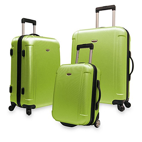 Traveler's Freedom 3-Piece Hardside Spinner Luggage Set in Green