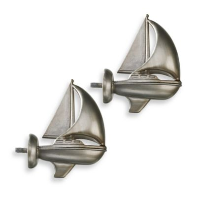 Cambria Complete Brushed Nickel Boat Finials (Set of 2)