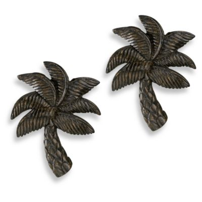 Cambria Complete Matte Brown Palm Finials (Set of 2)