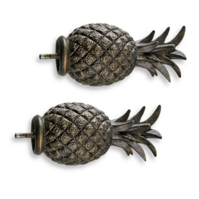 Cambria® Complete Matte Brown Pineapple Finials (Set of 2)