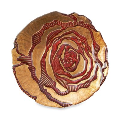 Red Pomegranate 6 1/2-Inch Rose Spun Red/Gold Side Plate
