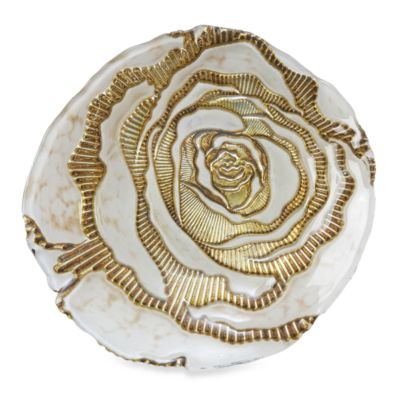 Red Pomegranate 9-Inch Rose Spun Cream/Gold Side Plate