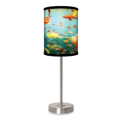 Lamp-In-A-Box Aquarium Table Lamp with Brushed Nickel Base