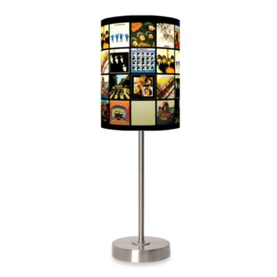 Beatles Album Covers Table Lamp with Brushed Nickel Base