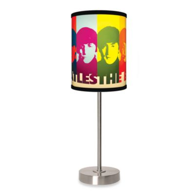Lamp-In-A-Box Beatles Faces Table Lamp with Brushed Nickel Base