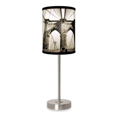 Lamp-In-A-Box Brooklyn Bridge Table Lamp with Brushed Nickel Base