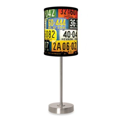Lamp-In-A-Box License Plates Table Lamp with Brushed Nickel Base