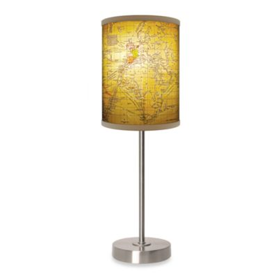 Old World Map Table Lamp with Brushed Nickel Base