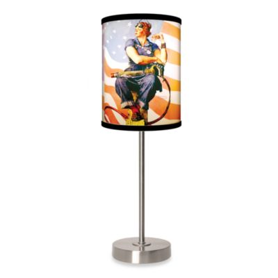 Lamp-In-A-Box Rosie The Riveter Table Lamp with Brushed Nickel Base