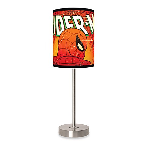 Lamp-In-A-Box Spider-Man Close-Up Table Lamp with Brushed Nickel Base