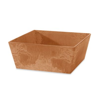 Ella 12-Inch Terra Square Low Planter in Black