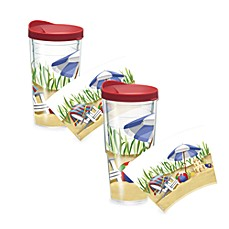 Tervis Tumbler Beach Scene Wrap Tumbler with Red Lid