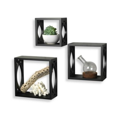 Black Wall Cubes with Lattice Cutout (Set of 3)