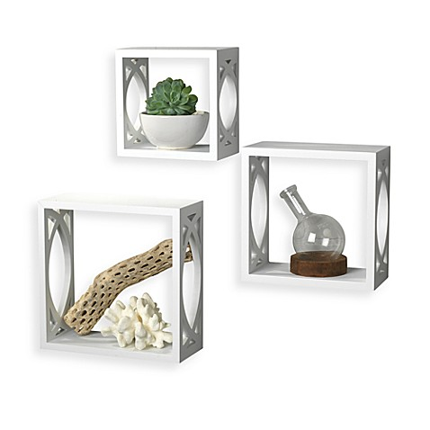 White Wall Cubes with Lattice Cutout - Set of 3