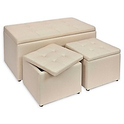 Linen Upholstered Ottomans (Set Of 3) by Bed Bath & Beyond