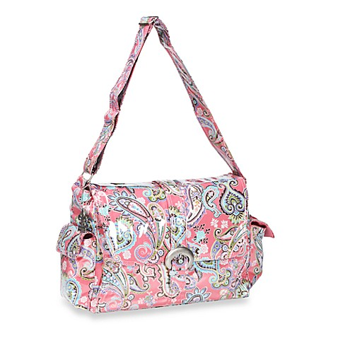 Kalencom Laminated Single Buckle Diaper Bag in Cotton Candy Paisley Pink