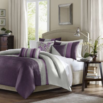 Amherst Full/Queen 6-Piece Duvet Set in Purple