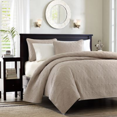 Madison Park Quebec 3-Piece Khaki Full/Queen Coverlet Set