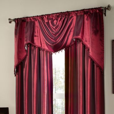 Argentina Shaped Valance with Beaded Trim in Crimson