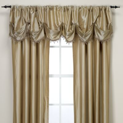 Argentina Tuck Valance with Beaded Trim in Chocolate