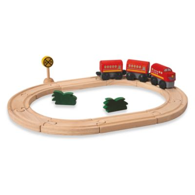 Plan Toys® Road and Rail Oval Train Set