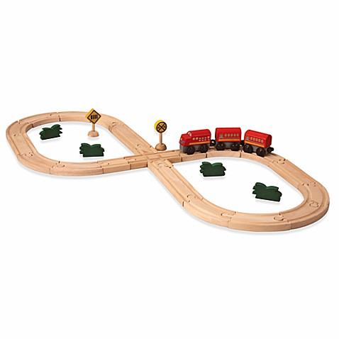 Plan Toys® Road and Rail Figure Eight Train Set